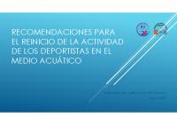 RECOMENDACIONES PARA EL REINICIO DE LA ACTIVIDAD DE NATACIÓN 20200515